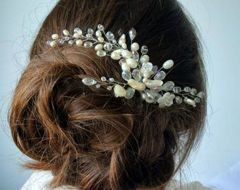 Wedding hairpin, hairpin, hairpin for the bride, pearl stud, beige hairpin, hairpin bohemian glass, festive hairpin