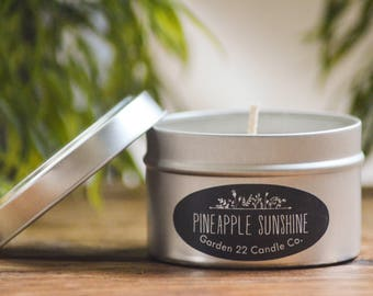 Soy Wax Candle, Pineapple Sunshine, Candle Tin, Pineapple Scented Candle, Fruity Scent, Natural Candle, Travel Candle