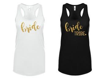 Bride Tribe Tank Top Bachelorette Party White Black Gold Metallic Racerback Shirt Bridal Shower Wedding Shower Boho Beach Wedding Hen Party