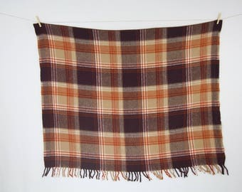 Vintage Fringe Plaid Throw Blanket / Brown and Tan Checkered Cozy Picnic Blanket / Cabin Decor / Rustic Decor
