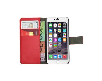 Red Leather Flip Case Wallet Cover Stand for iPhone 7, 7 Plus, 6, 6S, 6 Plus, 6S Plus, SE, 5, 5S