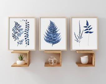 Watercolor Fern Leaves Set of 3 Prints, Navy Blue Plant Drawing, Minimalist Illustration, Botanical Wall Decor, Giclee of Original Painting