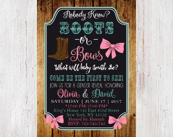 Gender reveal invitation, Boots or bows gender reveal invites, Gender Reveal Party, Gender Reveal Invitation Boots or Bows, Chalkboard 190