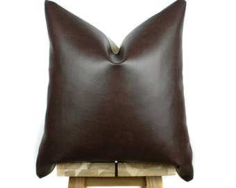 Faux Leather Pillow Cover | Chocolate | 'Naima'