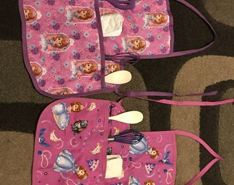 Sophia the first kid apron with utensils