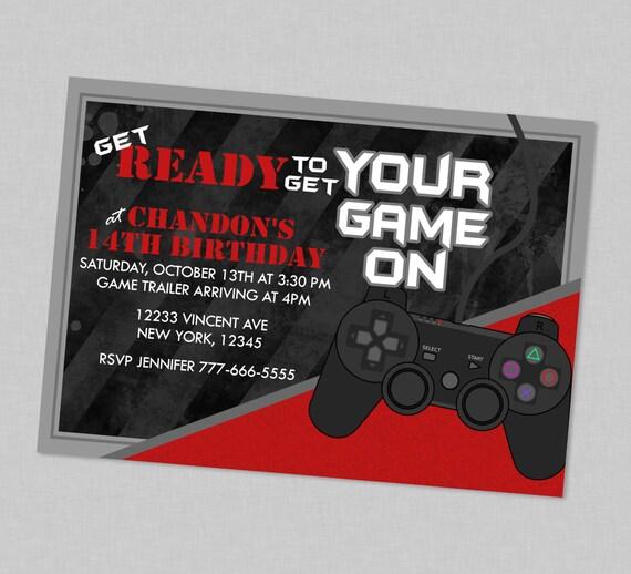Get Your Game On Birthday Invitation Gamer Birthday Invites