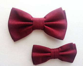 Bow Tie,Mens Bow Tie, Dad and Son Bow Ties, Burgundy Crepe Bow Tie, Father Son Bow Ties, Groomsmen Bow Tie,Crepe Bow Tie,Boys Bow Tie  DS721