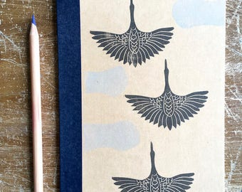 """Notebook """"Crane"""" printed by hand"""