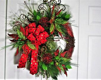Christmas Wreath,Christmas Decoration Wreath,Front Door Wreath, Outdoor Wreath,Grapevine Wreath,Hostess Gift,Whimsical Wreath,Holiday Decor