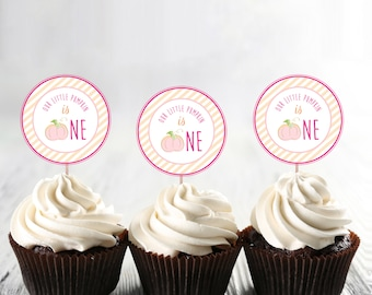 "Little Pumpkin is One by Arbor Grace Collections, 2"" Diameter PRINTABLE INSTANT DOWNLOAD Cupcake Topper, Pumpkin Theme, First Birthday"