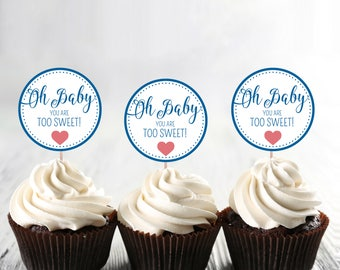 "Oh Baby! Baby Shower by Arbor Grace Collections, 2"" Diameter PRINTABLE INSTANT DOWNLOAD, Cupcake Topper"