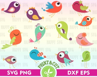 Bird SVG File Bird Digital Clip Art Spring Graphic Digital Bird Vector Bird Decal Bird Silhouette Cartoon Bird Digital SVG Bird Clipart Svg