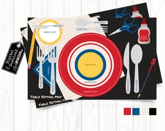 Back To School Table Setting Placemats | Table Etiquette Diagram for Family | Manners Placemat | INSTANT Download 11x17 JPG