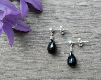 Silver Stud Earrings with Onyx Drops, Onyx Earrings, Onyx Jewelry, Sterling Silver Dainty Onyx Drops