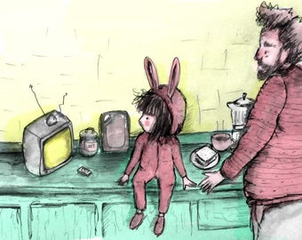 Drawing of a rabbit girl and dad