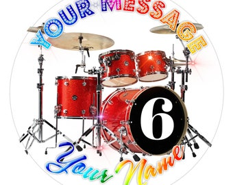Red Drum Kit Personalised Edible Icing. Birthday Cake Topper Decoration 7.6""