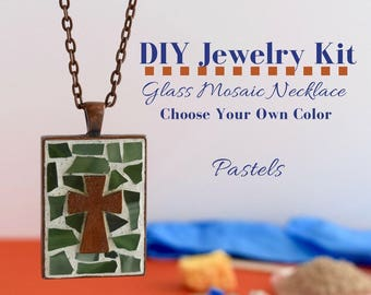 DIY Cross Necklace Kit, Mosaic Glass Christian Themed Activity, Copper Rectangle Bezel, Choose Your Own Pastel Colors with cross charm