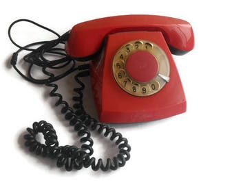 Vintage rotary phone Dial red phone Rotary dial Old phone Rotary telephone Soviet rotary phone Vintage telephone Classic desk phone