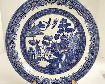 "Vintage Churchill Fine Tableware Blue Willow Ware 10 1/4"" Dinner Plate"