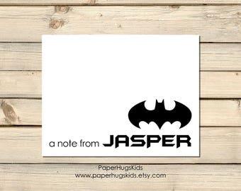 Superhero Stationery - Superhero Note Cards - Personalized Note Cards - Superhero Thank You Cards - Superhero Notecards - Set of 10 - Batman