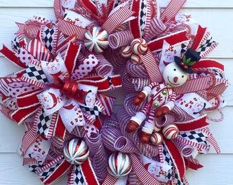 Snowman Wreath, Christmas Wreath, Holiday Wreath, Frosty Wreath, Peppermint Wreath, Custom Wreath, Front Door Wreath, Winter Wreath, Snowman