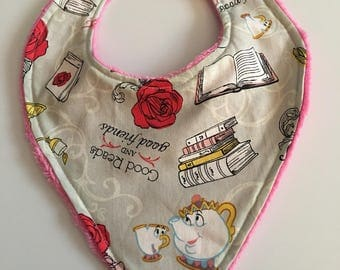 Beauty and the beast handkerchief bib