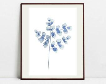 Leaf Art Botanical Print , Leaf Watercolor Painting, Blue Illustration, Digital Download Art Print