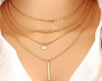 Multi Layer Gold Chain Choker Necklaces