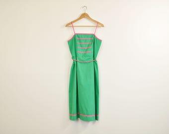 70s Sun Dress, Vintage 1970s Dress, Kelly Green and Pink Dress, Sleeveless Dress, Summer Dress, A-Line Dress, Mid Length Dress, Boho Dress