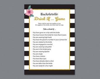 Bachelorette Drink If Game, Kate Spade Drinking Game, Black White Stripes, Bridal Shower, Wedding Shower, Hen Party Game, Take a Sip, A014