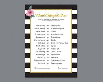 Would They Rather, Kate Spade Bridal Shower Game Printable, Wedding Shower Game, Who knows the Bride Best, Black White Stripes, A014