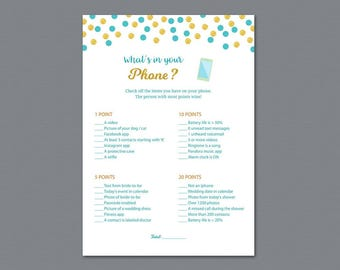 What's in your Phone Game Printable,  Whats on Your Phone, Bridal Shower Games, Aladdin Disney Fairy tale, Wedding Shower Activity, A016