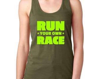 Run Your Own Race tank top Run tank Funny tank top Green tank Women's tank top Gym tank top Tank top Birthday gift