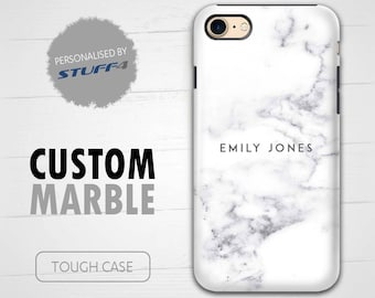 Personalised Custom Marble Phone Case for Apple iPhone 4/5/6/7 Plus SE Smartphone/Pearl White Stamp/Personalized Tough Cover Name/Initial