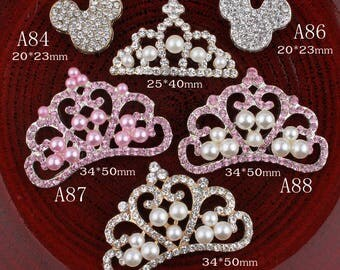 Vintage crown/mouse Metal Rhinestone Buttons Bling Alloy Flatback Crystal Buttons for Hair accessories Wedding Decoration