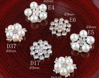 Bling Metal Rhinestone Pearl Buttons for Flower Center Decorative Flatback Crystal Flower Beads for Hair Accessories