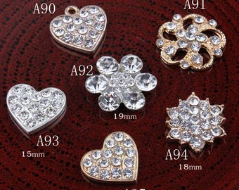 Vintage heart/flower/snow Metal Rhinestone Buttons Bling Alloy Crystal Flatback Flower Centre Buttons for Hair accessories