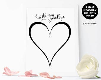 Kiss The Miss Goodbye, Hen Party Guest Book, Bridal Shower Guest Book Alternative Bachelorette Party Gift For Bride Bridal Shower Printable