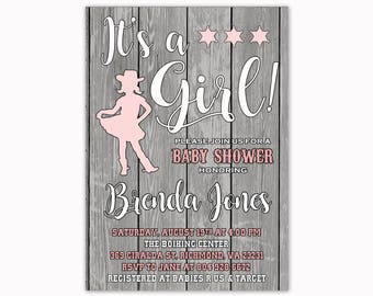 It's a Girl Baby Shower Invitation, Western Baby Shower Invitation, Cowgirl Baby Shower Invitation