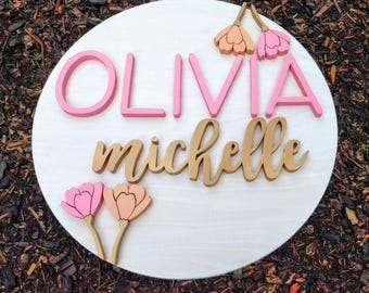 """24"""" Round Floral Name Wood Sign   Wood cut out   Name cut out   Nursery name sign   Nursery decor  Wood baby name   Wall hanging   Custom"""