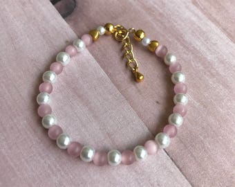 pink bracelet, pearl bracelet, infant bracelet, toddler bracelet, girl's bracelet, jewelry, beaded bracelet, silver bracelet, gold bracelet
