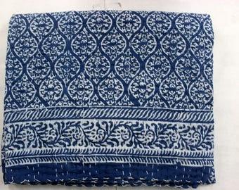 Hand made kantha quilt vintage twin size throw hand stitched Flower indigo blue print kantha bedcover