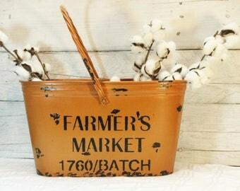 Farmers Market Fall Bucket, Autumn decor, Fall decor, Metal bucket, Orange decor, Tin Bucket, Painted pail, Farmhouse bucket, Kitchen Decor