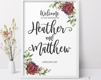 Printable Wedding Welcome Sign, Floral Wedding Welcome Sign, Wedding Ceremony Welcome Sign, Welcome Sign Wedding, Printable Wedding