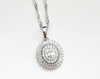 Bridal necklace pendant CZ ovale drop, Rhodium necklace, wedding cubic zirconia necklace, Crystal jewelry, Drop , Bridal necklace