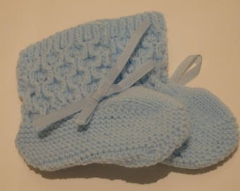 Blue Knitted Booties