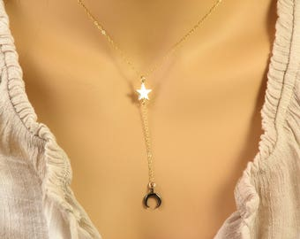 Moon and Star Necklace, Y Necklace, Crescent Moon, Black Moon, Celestial Necklace in 14k Gold Fill or Sterling Silver
