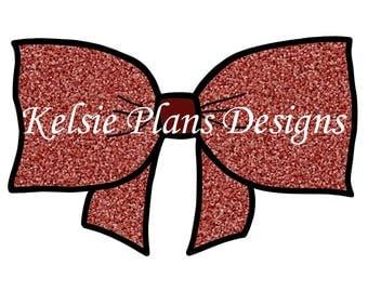 Fancy Bow - Red Glitter