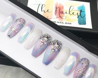 Unicorn Chrome Swarovski Crystal Pastel Iridescent Glitter Press On Nails | Unicorn| Any Shape | Fake Nails | False Nails | Glue On Nailes