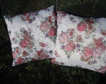 Delicate lace fabric pillow cover printed with roses